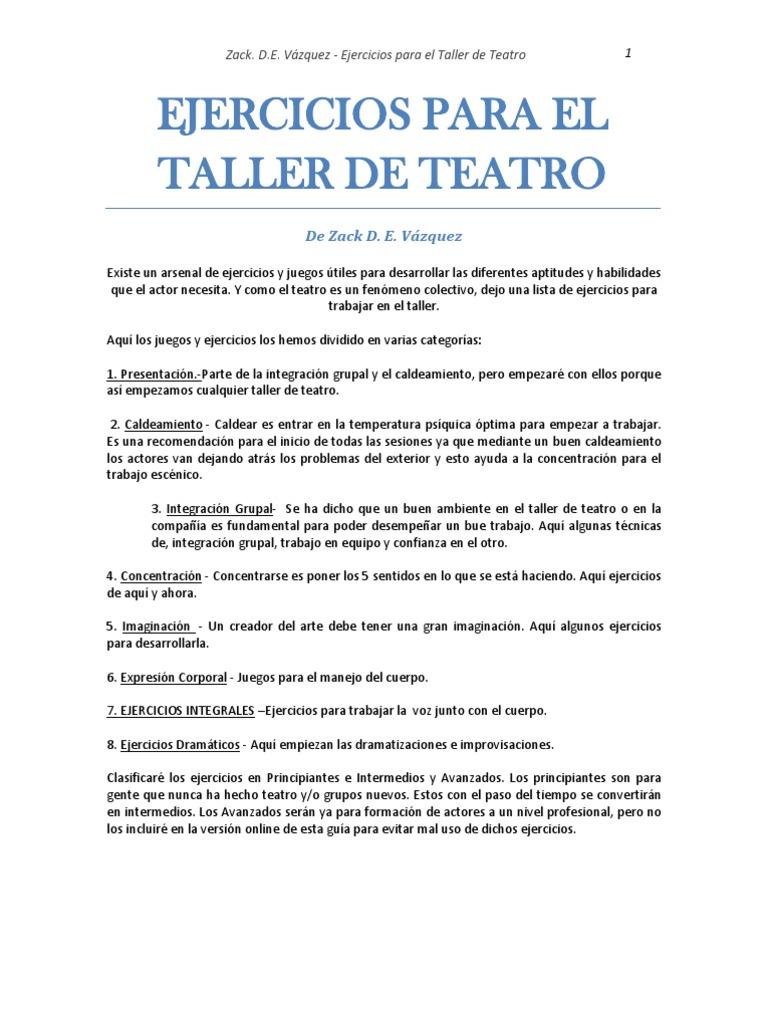 Ejercicios de Actuacion Para El Taller de Teatro