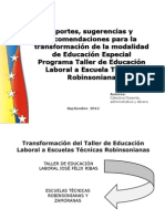 Propuesta de transformaciòn  del taller septiembre 2012