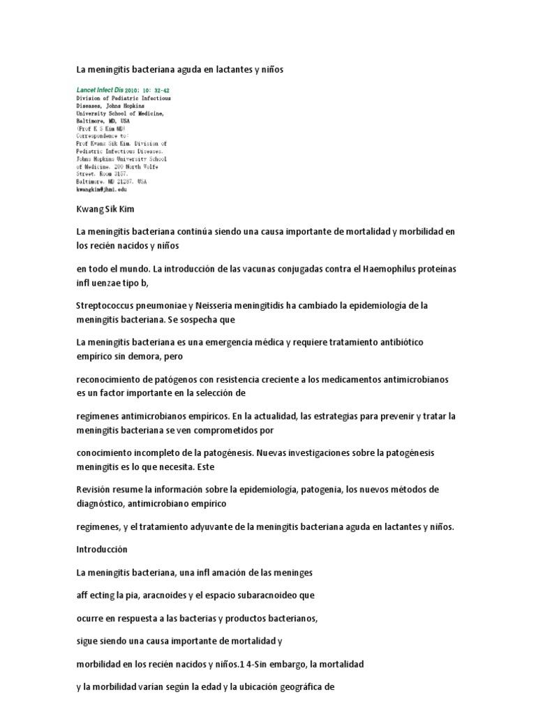 antibiotico para meningitis bacteriana