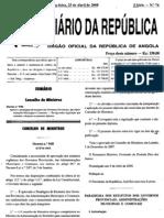aprova o paradigma de estatutos dos governos províncias, das administrações municipais e comunais