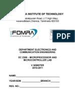 Ec2308 Microprocessor and Microcontroller Lab1