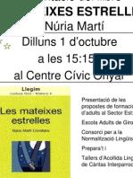cartell presentació llibre LES MATEIXES ESTRELLES