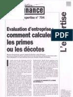 Evaluation d'entreprise Comment Calculer les primes et les Decotes