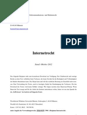 Internetrecht Oktober 2012