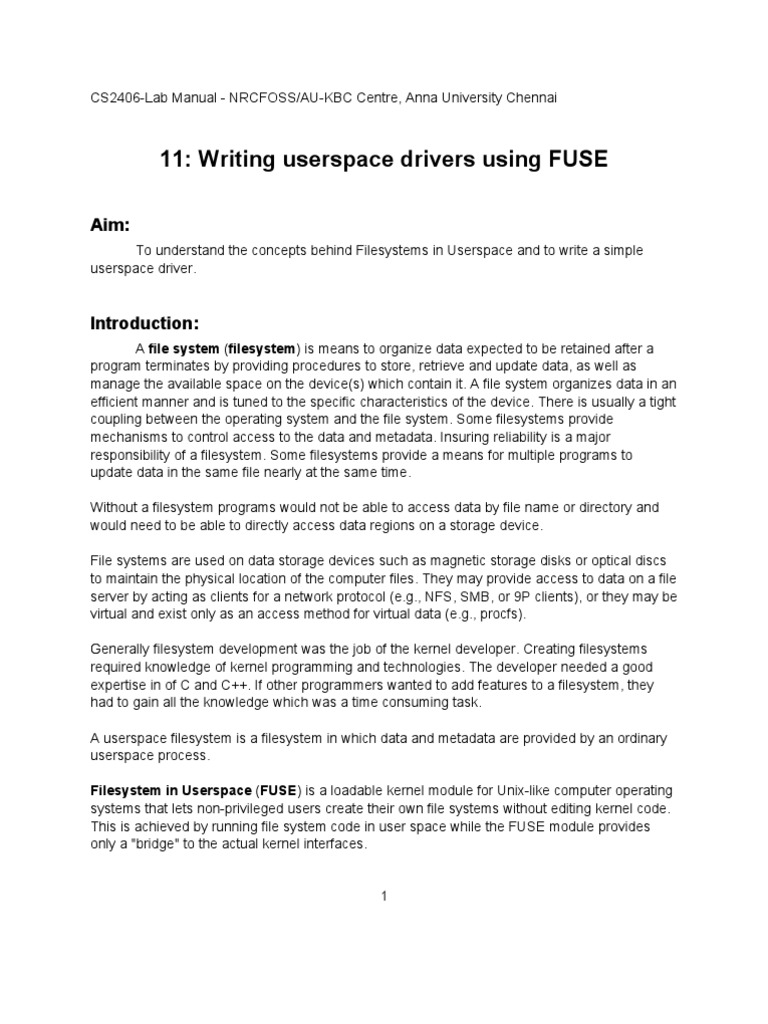 Writing User Space Drivers Using Fuse   File System