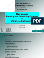 Maint Planning & Scheduling Strat for Workforce Optimisation