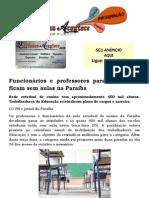 Funcionários e professores param e alunos ficam sem aulas na Paraíba