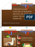 Thermodynamic analysis of building heating or cooling using the soil as a heat reservor