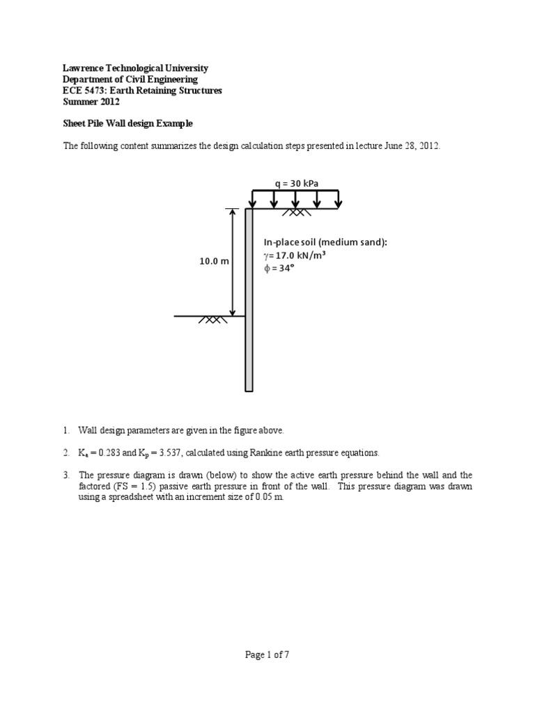 Sheet Pile Wall Design Example   Pressure   Sine