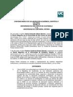 Convenio Marco de Colaboración Académica, Científica y Cultural entre la Universidad de San Carlos de Guatemala y la Universidad de Cantabria, España.