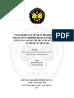 Pengaruh Upah, Tingkat Pendidikan Dan Teknologi Terhadap Produktivitas Tenaga Kerja Pada Industri Kecap Di Kecamatan Pati Kabupaten Pati