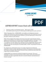 ASPIRE4SPORT issues final call to exhibitors