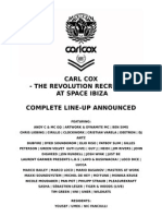 Carl Cox at Space Ibiza 2012 - Full Line Up and Dates 20120601