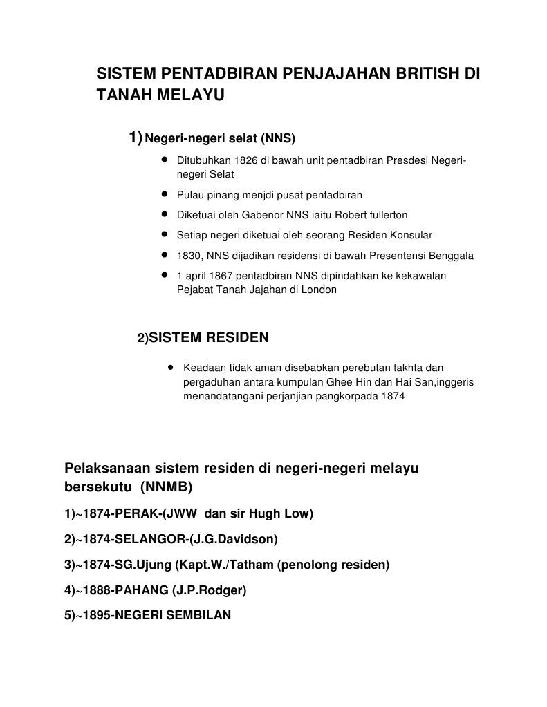 Sistem Pentadbiran Penjajahan British Di Tanah Melayu