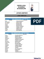 Guadalupe, Listado Admitidos