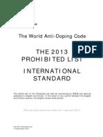WADA-AMA Lista de Sustancias Prohibidas 2013 #NoDoping
