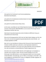 Offener Brief an das State Department - 08.08.12
