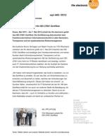 TÜV Rheinland verleiht ifm ISO-27001 Zertifikat