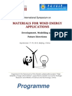 International Symposium on MATERIALS FOR WIND ENERGY APPLICATIONS Development, Modelling and Future Directions Programme September 17-19, 2012, Beijing, China