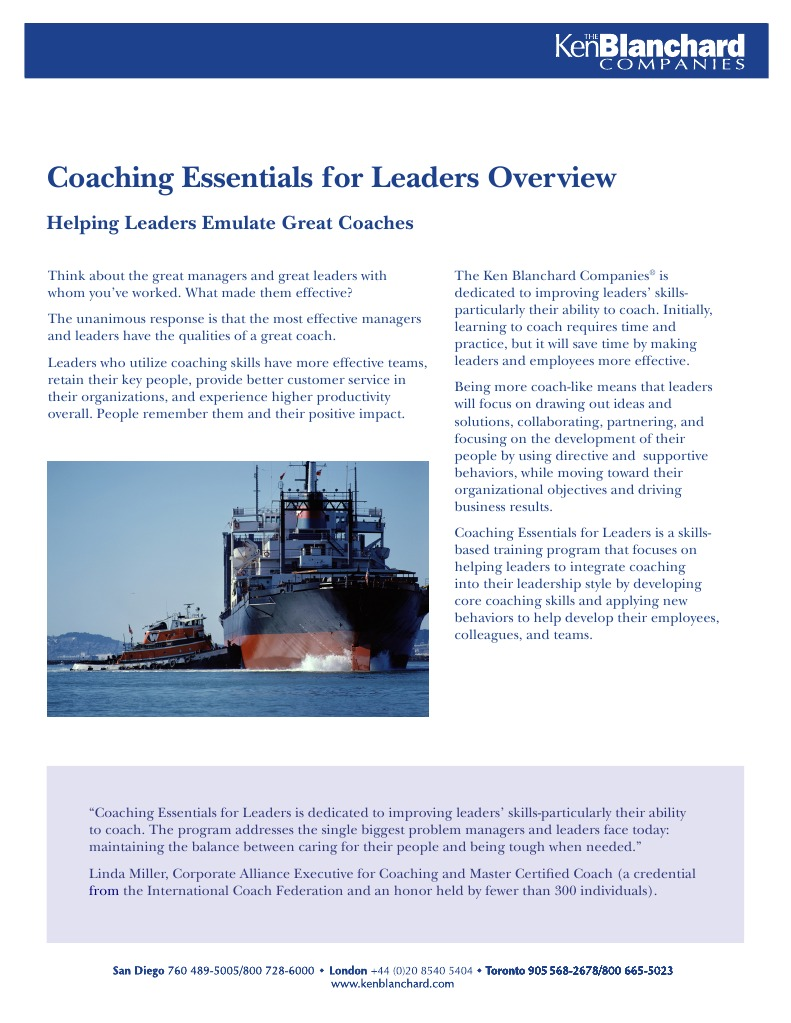 Coaching Essentials for Leaders Overview: Helping Leaders