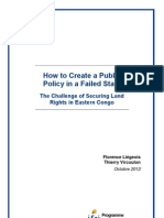 How to Create a Public Policy in a Failed State. The Challenge of Securing Land Rights in Eastern Congo