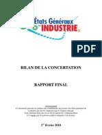 Etats Généraux de l'industrie 2010 Bilan de la concertation
