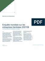 Enquête mondiale sur les entreprises familiales 2007/08 La France dans le monde et en Europe PWC
