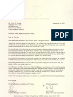 Letter From the Fritz and Maria Koenig Foundation
