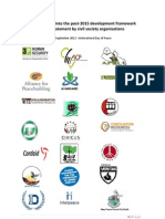 Bringing Peace Into the Post-2015 Development Framework - A Joint Statement by Civil Society Organizaions - Sept 2012