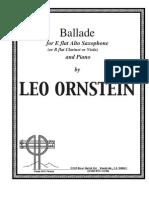 (Sax Alto-Clarinete-Viola Piano) Ornstein, Leo - Saxophone Ballade (Parte De Piano Y Saxofón)