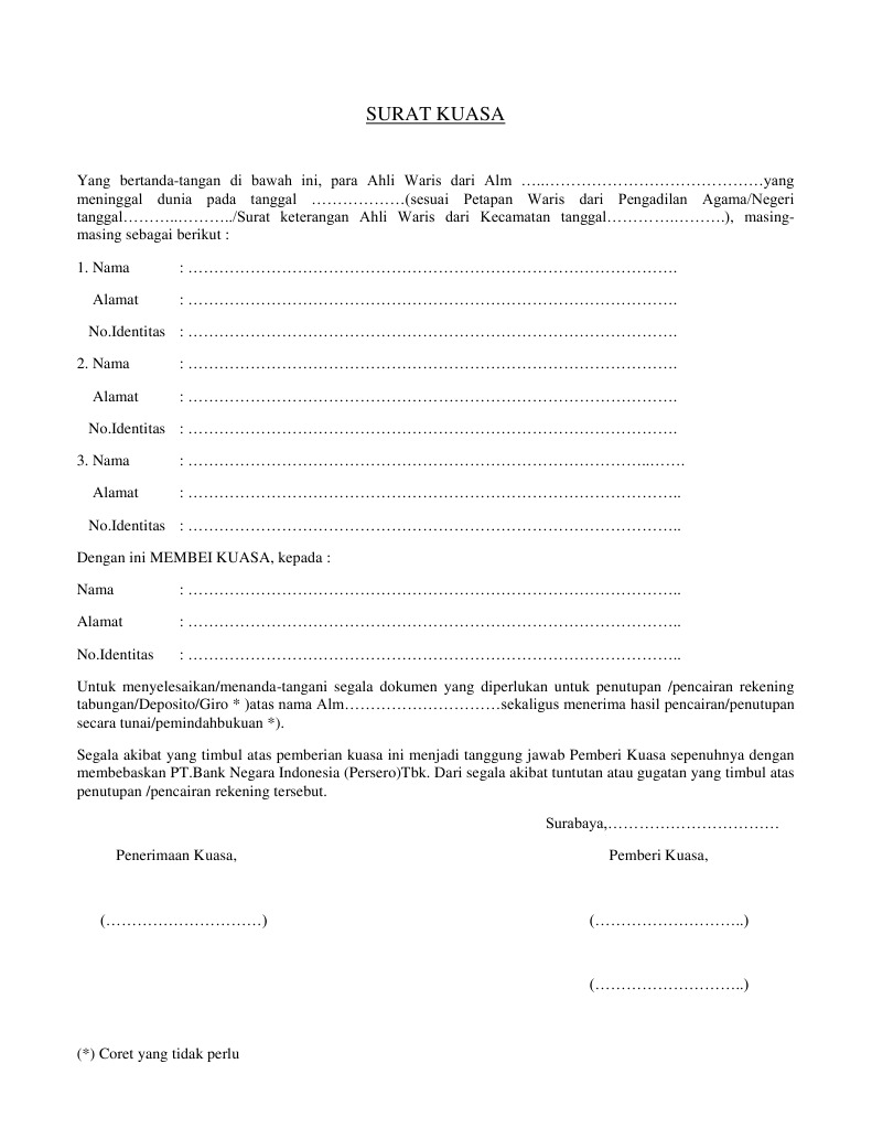 Contoh Surat Kuasa Pengambilan Uang Di Bank Bca - Info ...