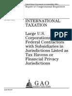 GAO Report US Corporate Tax Dodgers