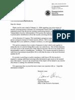 TSA No ID Letter to Mocek