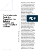 Dieter Lesage the Academy is Back- On Education, The Bologna Process, And the Doctorate in the Arts