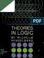 Windelband, Theories in Logic