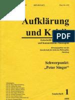 Aufglärung & Kritik Sonder Heft 1995 Peter Singer