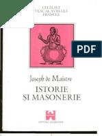 Joseph de Maistre Istorie si masonerie, antologie realizata de Danie Vighi