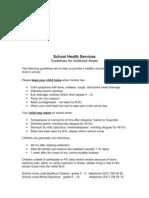 School Health Services Info Re Diseases at Schoolstart
