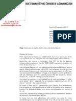 Pan social SFR / Courrier BALLAIN Montebourg