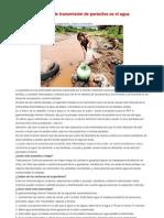 La principal fuente de transmisión de parásitos es el agua contaminada