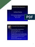 Riverside police report on patrol car vs. pedestrian collision