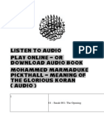 Audio Book - Meaning Of The Holy QURAN ( Pickthall )
