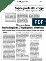 Mattino 29.9.12 - Comune, D'Angelo pronto allo strappo.