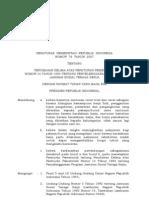 Pp No 76 Th 2007 Ttg Perubahan Ke-V Atas Pp No 14 Th 1993 Ttg Penyelenggaraan Program Jamsostek