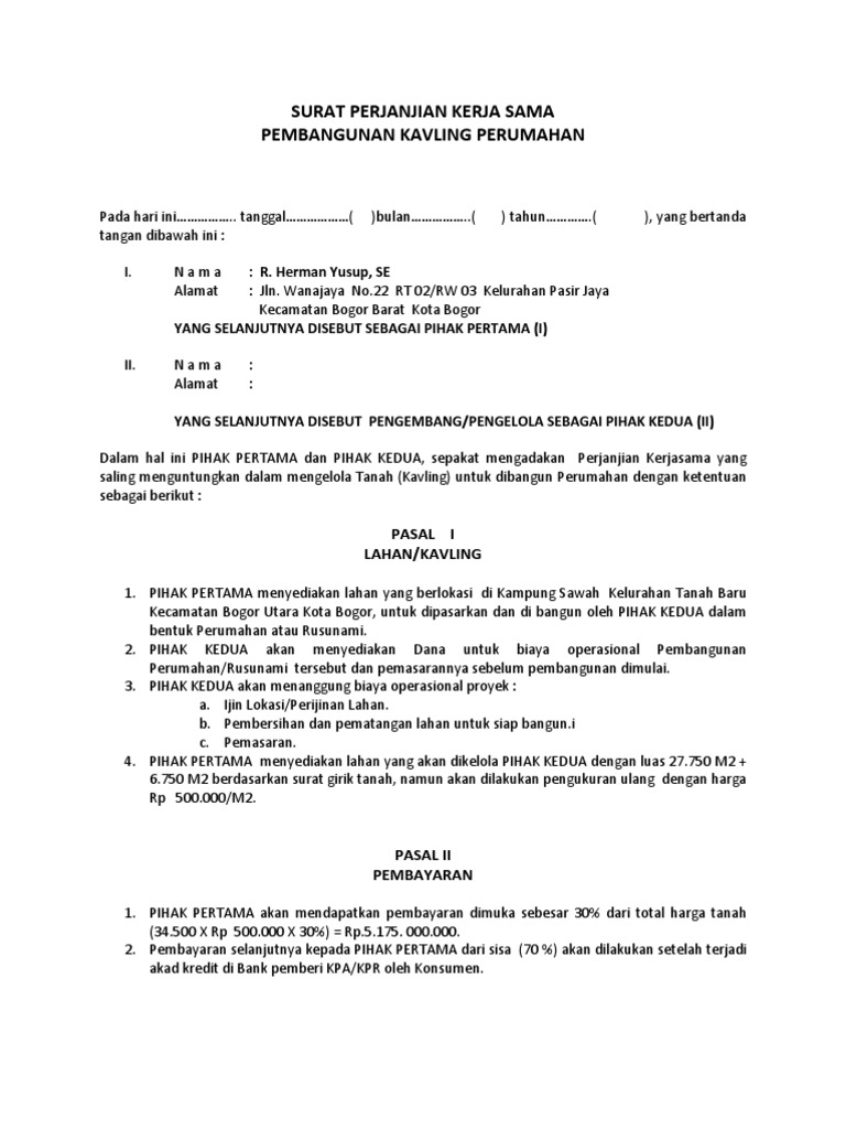 Format Surat Perjanjian Kerjasama Altin Northeastfitness Co