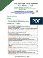 Health, Education, Social Protection News & Notes 21/2012
