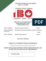 IBO 2007 Pract 3 Cell Biology Biochem