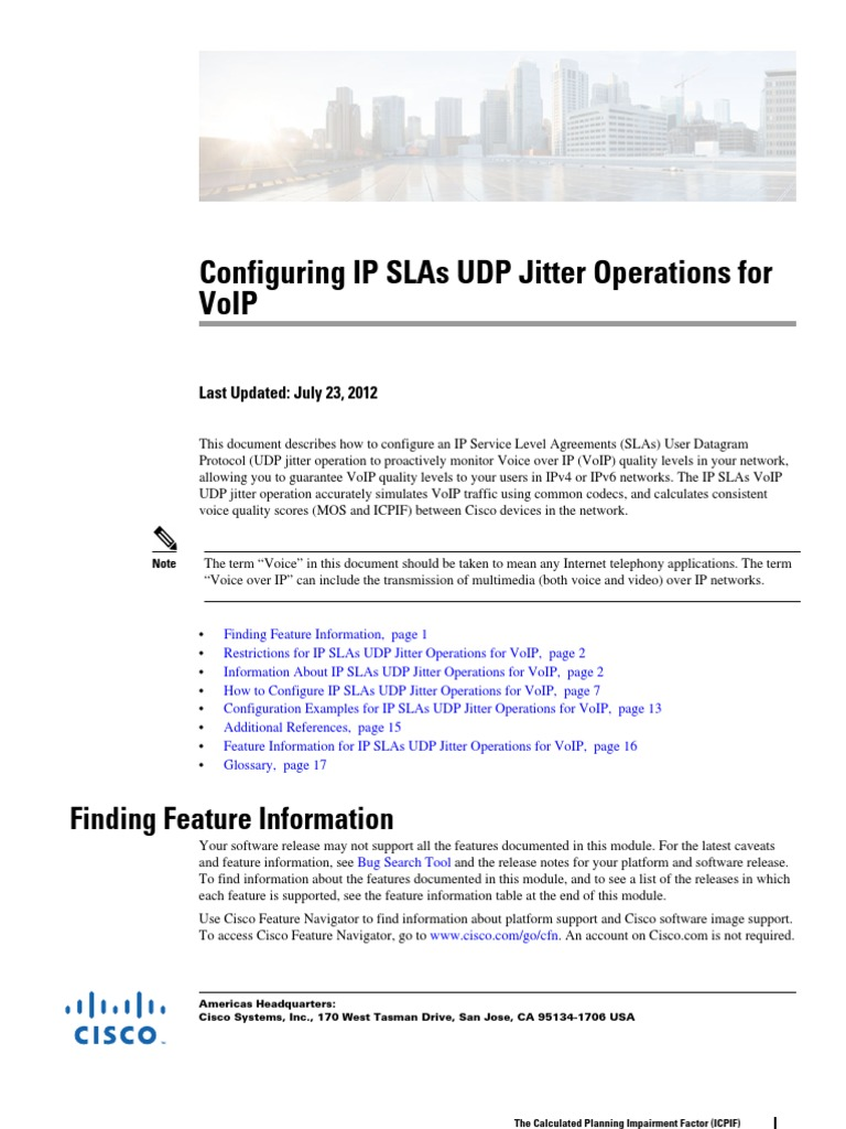 Configuring IP SLAs UDP Jitter Operations for VoIP | Voice Over Ip