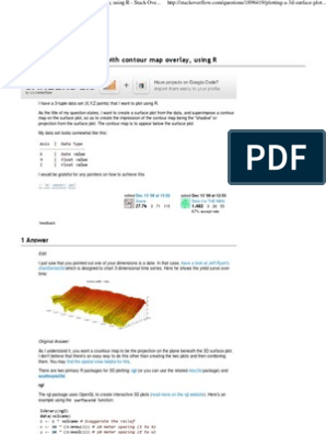 Plotting a 3d Surface Plot With Contour Map Overlay, Using R