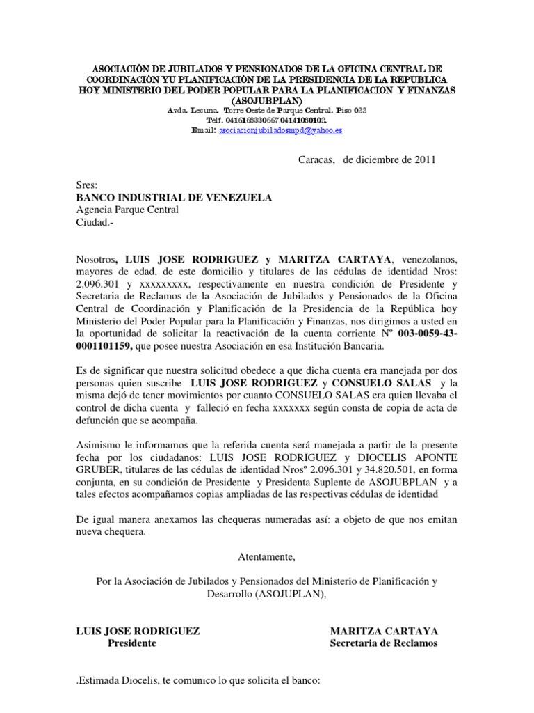 Carta banco industrial reactivacion de cuenta for Solicitud de chequera